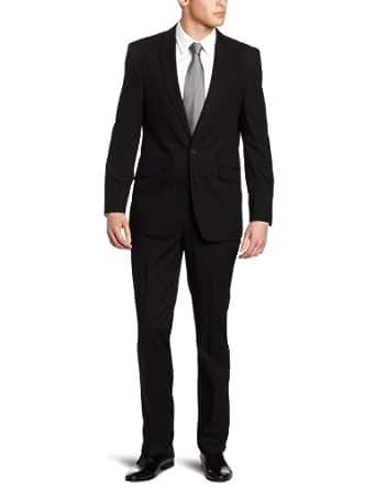 Kenneth Cole Reaction Men's 2 Piece Suit, Black Solid, 42 Large