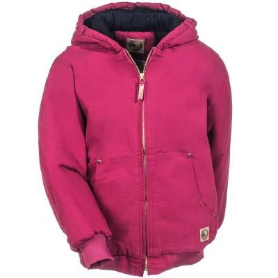 Berne Kids Pink BHJ52 RNY Cotton Duck Lined Hooded (Berne Apparel Lined Coat)