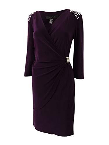 R&M Richards Shift Bead Dress Plum 14