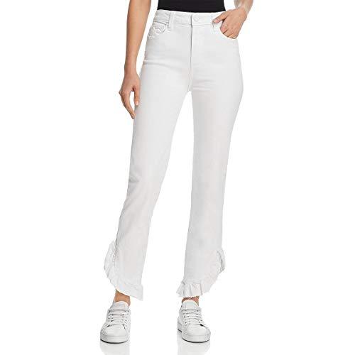PAIGE Women's Jacqueline Straight Leg Jeans, Crisp White w/Raw Mini Ruffle Hem, 29