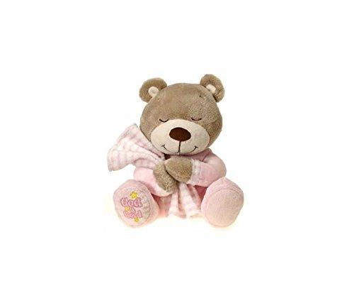 Praying Teddy Bear (Fiesta Toys Praying Bear Stuffed Animal Toy: Prays Now I Lay Me Down To Sleep - 8 Inches Pink)