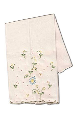 Threads Woven Ecru 100% Portuguese Linen Hand Embroidered Blue Flower Fingertip Guest Towel