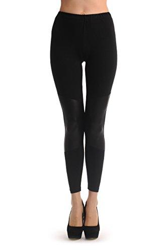 Soft Cotton With Faux Leather Knee Panels - Black Designer ()
