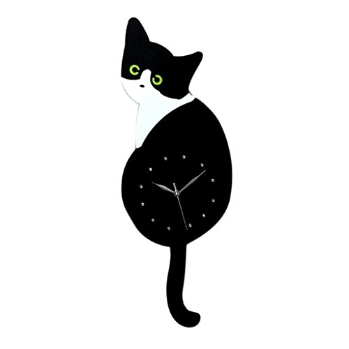 Baoblaze Various Creative Acrylic Cats Dogs Wall Clock Tail Wag Swing Pendulum Clock Home Decoration Kids Student Gifts - Green Eye Cat