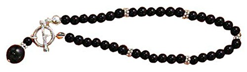Sterling Silver Black Onyx Beads Spacer Beads Drop Toggle (Strand Onyx Bead Toggle Bracelet)