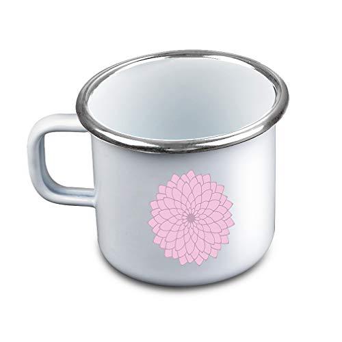 Many Petals Flower Pink Metal Camping Mug Enamel Cup (Pink Enamel Petal)
