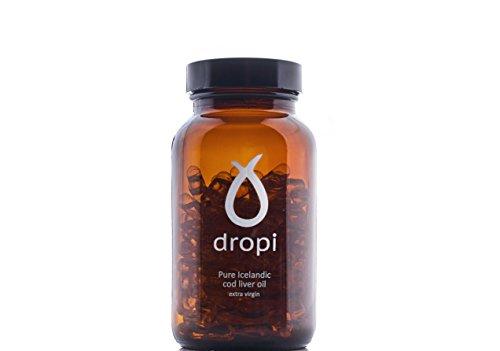 Dropi Pure Icelandic Cod Liver Oil Extra Virgin - 60 capsules (Cold Pressed Cod Liver Oil)