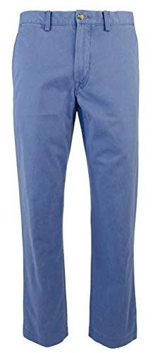 (RALPH LAUREN Polo Men's Stretch Straight Fit Flat Front Chino Pants (Haven Blue, 36x34))