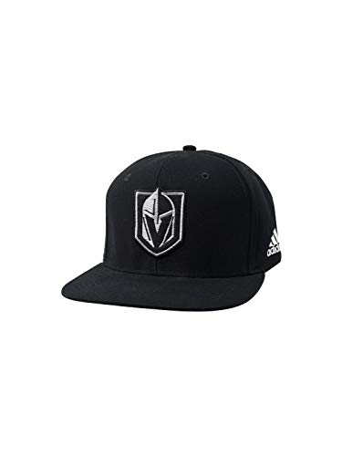 adidas Vegas Golden Knights Hats Fitted and Adjustable NHL Hockey Baseball Caps (One Size, Black Silver Snapback) ()