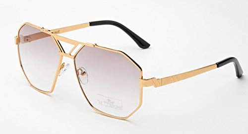 Vintage Sunglasses for Men and Women Sonnenbrille Brand Designer Sun Glasses Polygon Frame Gafas De Sol JWW140 - (Lenses Color: Gold Frame) (Gold-designer Sonnenbrillen)