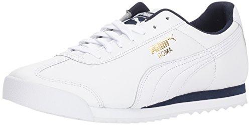 (PUMA Roma Classic Sneaker, White Peacoat, 9.5 M US)