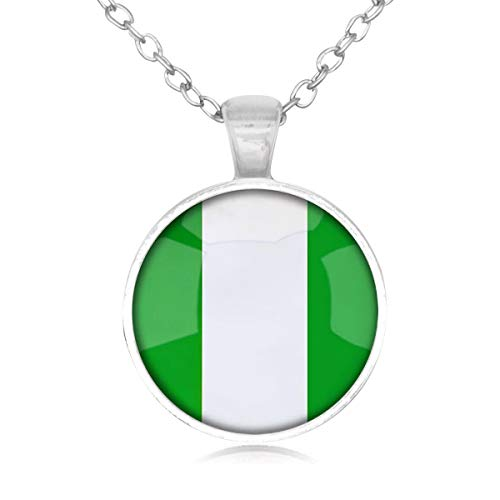 Family Decor Federal Republic of Nigeria National Flag Pendant Necklace Cabochon Vintage Long Sliver Chain Statement Necklace Fine Jewelry