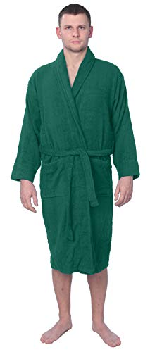 (Men's 100% Cotton Shawl Collar Robe Terry Cloth Bathrobe Available in Plus Size MNBRT1_Y18 Green 4X)