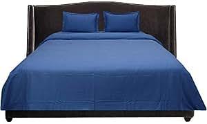 Brightlinen Medium Blue Superking (180 X 200 Cm) Duvet Set Flat Sheet Solid 4pcs
