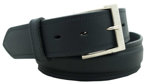 "Men's Dress Belt 1 1/2"" English bridle leather raised dress belt. Black, Size 44"