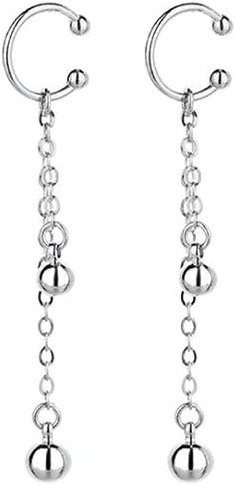 1 Pair Clip On Earrings Tassel Chain Cuff Wrap Clip on Earrings Non Pierced Earrings for Women Teen Girls Hoop Long Chain Dangle Earrings Jewelry