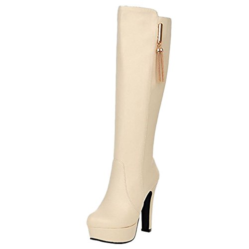 SJJH Women Long Boots with High Heel and Thick Platform All Match Women Boots with Large Size Beige