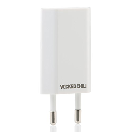Wicked Chili Pro Series Netzteil - Ultra Slim - USB Adapter für Apple iPhone 7 / 7 Plus / 6S Plus / 6 Plus / 6S / 6 / SE / 5C / 5S / 5, iPod Nano / Touch (Ladeadapter, 1000mA, 100-240V) weiß