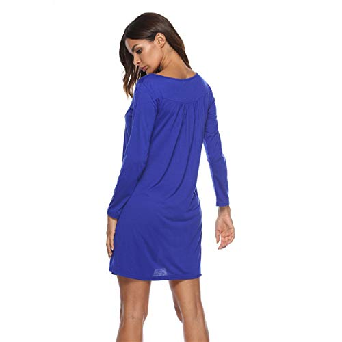 Larga Mini Tunic Swing Botón S Color Azul Loose Hvzciuwrn Manga Plisado O tamaño Camiseta Cuello Vestido Vestidos SnqX1