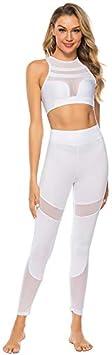 Blanc MOONQING Femme V/êtements de Sport Leggings dentra/înement Leggings dentra/înement Pantalon dentra/înement pour Gymnase de Yoga Taille S