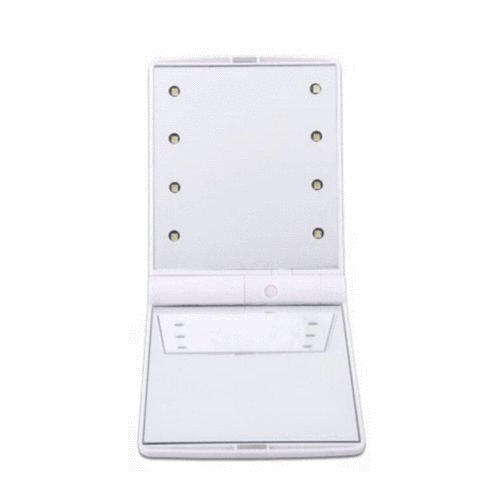 MIJORA-Makeup Compact Mirror Cosmetic Folding Portable Pocket with 8 LED Lights Lamps(type:white)