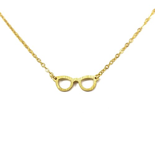 Glasses GOLD Plated Necklace Dainty Spectacles Eyesight Rims - Glsses Eye