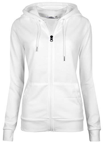 MAJECLO Women's Casual Full-Zip Hooded Lightweight Long Sleeve Sweatshirt (Medium, White) ()