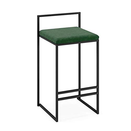 SZPZC Dining Chair | Full Backed Black Metal Bar Stools, Green Flannel Cushion Seat Barstool for Kitchen | Pub | Café Bar Counter Stool Max. Load 440Lb Bar Chairs (Size : 39x42x65cm) 25' Outdoor Swivel Bar Stool