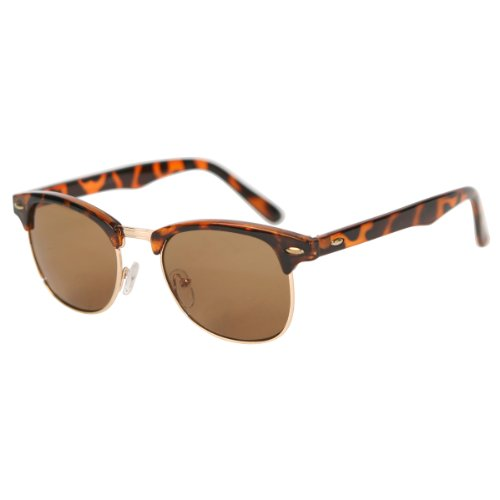 Retro Retro Classic Half Frame Horn Rimmed Sunglasses Blogger Fashion]()
