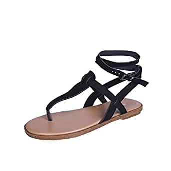 Women Casual T Strap Thong Sandals Adjustable Ankle Buckle Summer Beach Flat Shoes Flip Flops by RJDJ Black
