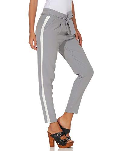 a Pantaloni contrasto con donna Casual Pantaloni Cintura Tagliacarte integrato cinturino ZARMEXX Chiaro Business casual Grigio dx8ZIqdw