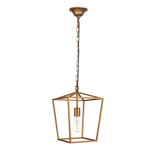 Paragon Home Pendant Light Hanging Lantern Lighting Fixture for Kitchen and Dining Room, Industrial Retro Iron Chandelier Fixture,E26 Base, Antique Brass (Bulbs Not - Light Fixture Pendant Brass