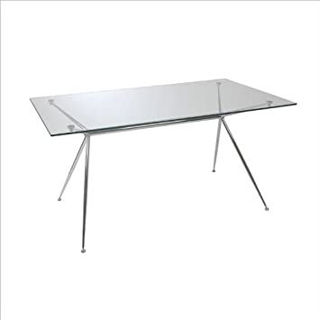 Eurostyle Atos 66u0026quot; Rectangular Dining Table In Clear Glass And Chrome