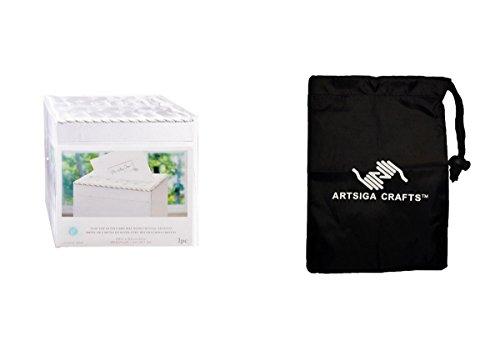 Darice Wedding Card Box Victoria Lynn Satin Flip Top Wedding Card Box w/ Crystals White (2 Pack) VL8132722F bundled with 1 Artsiga Crafts Small Bag (Eclipse White Crystal)