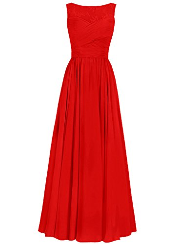 JAEDEN Mujeres redondo Vestidos fiesta largo sin mangas Gasa Vestidos de noche Vestidos de dama de honor Rojo