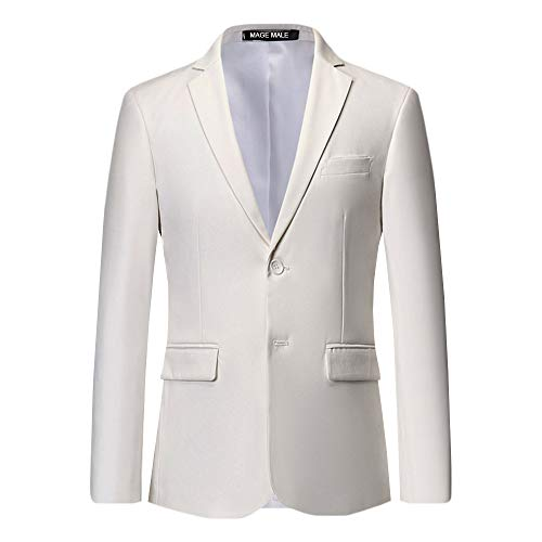 MAGE MALE Men's Slim Fit Blazer Casual Two Button Flap Pockets Business Solid Sport Suits Jacket White