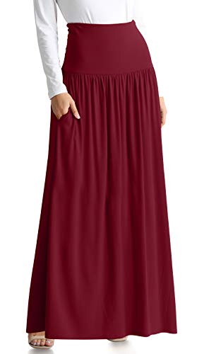 Burgundy Skirts for Women Reg and Plus Size Maxi Skirt (Size XX-Large US 14-16, Burgundy Ankle-Length)