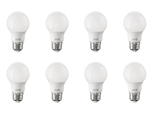 IKEA Ryet E26 Energy Saving LED Light Bulb Bundle - 35 Watt Equivalent - Warm White - 2700 Kelvin - Globe Opal - Non Dimmable, 8 Pack [400 Lumen] Light Opal Globe