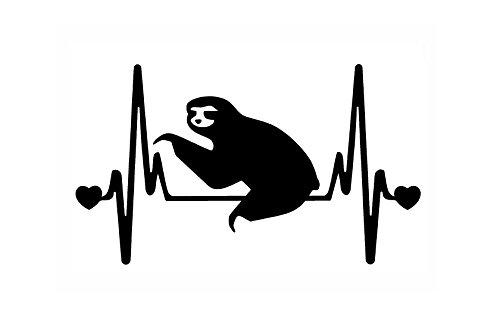 Stickerdad Sloth V2 Heartbeat Lifeline Vinyl Decal (Size: 7&Quot;, Color: Black) For Windows, Walls, Bumpers, Laptop, Lockers, Etc. -