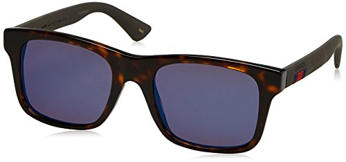 Gucci 0008S 003 Havana 0008S Rectangle Sunglasses Lens Category 3 Lens - Gucci Sunglasses Mirrored