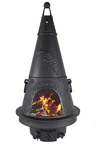 The Blue Rooster CAST ALUMINUM Garden Chiminea Wood Burning Chiminea