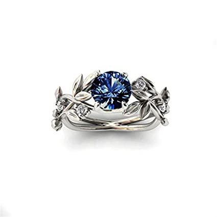 JEWH Hot Sale Women Ring - Europe Tree Leaf Branches Blue Stone Zircon Crystal Princess Ring