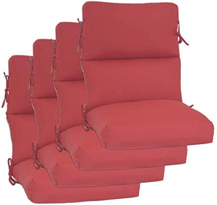 Set of 4 Outdoor Chair Cushion 22″ W x 44″ L x 3″ H. Solution Dyed Acrylic Linen Red Fabric