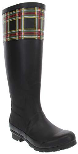 London Fog Womens Thames Rain Boot Black Black/Plaid 6 M US