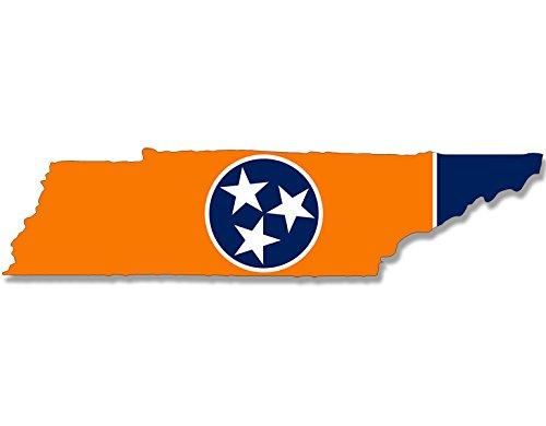 (American Vinyl Volunteer Orange Tennessee Shaped Tenn Flag Sticker (tn Tenn Football College) )
