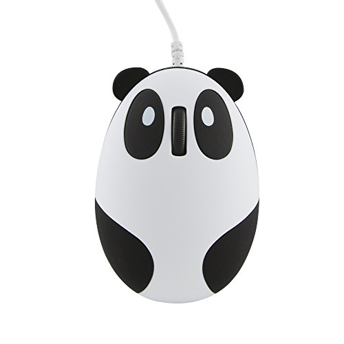 CHUYI Super Cute Wired Mouse Cartoon Panda Shape Mini Mouse Novelty Portable Computer Mouse Unique Small Desktop Mouse Laptop PC Mouse for Women Kids Girls
