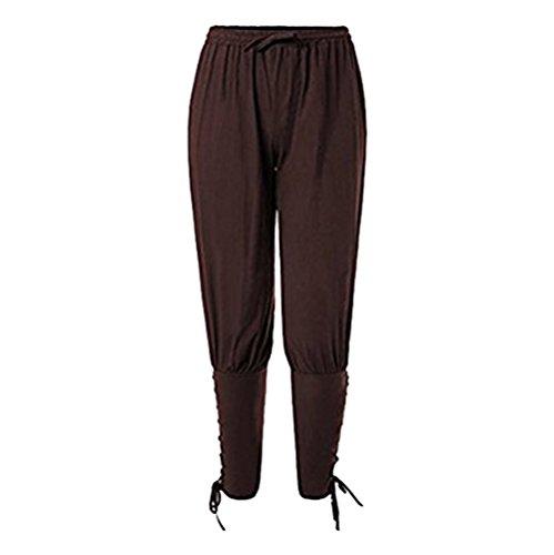 Coser Park Mens Ankle Banded Pants Medieval Viking Navigator Trousers Renaissance Pants (Men's Renaissance Pants)