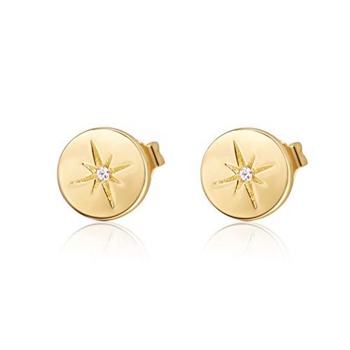 S.Leaf Minimalist Circle Hexagram Star Earrings Round Disc Stud Earrings for Woman (gold)