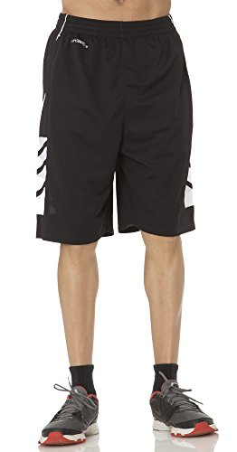 (BU3001) AeroSkin Dry Mens Basketball Shorts with Laser Cut Inserts in Black / White Size: XS