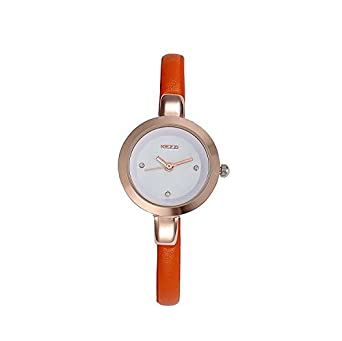 Amazon.com: Kezzi Womens Leather Quartz Watch Orange: Watches